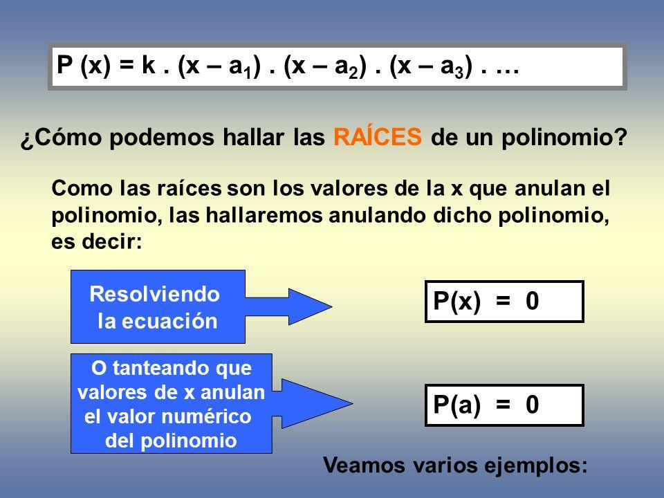 P (x) = k . (x – a1) . (x – a2) . (x – a3) . …