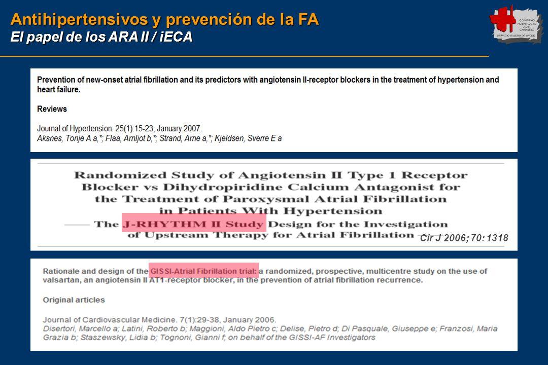 Antihipertensivos y prevención de la FA El papel de los ARA II / iECA