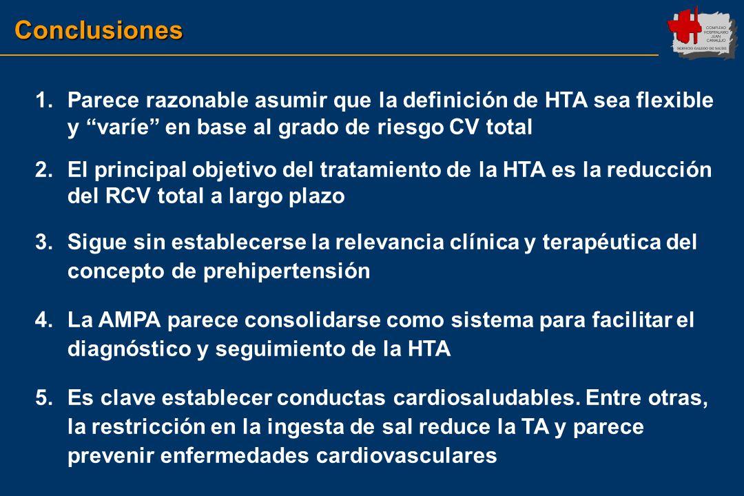 Conclusiones Parece razonable asumir que la definición de HTA sea flexible y varíe en base al grado de riesgo CV total.