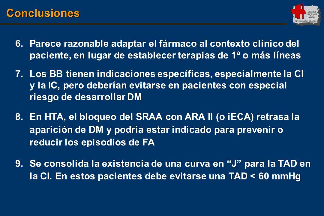 Conclusiones Parece razonable adaptar el fármaco al contexto clínico del paciente, en lugar de establecer terapias de 1ª o más líneas.