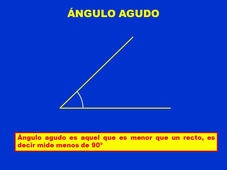 ÁNGULO AGUDO Ángulo agudo es aquel que es menor que un recto, es decir mide menos de 90º