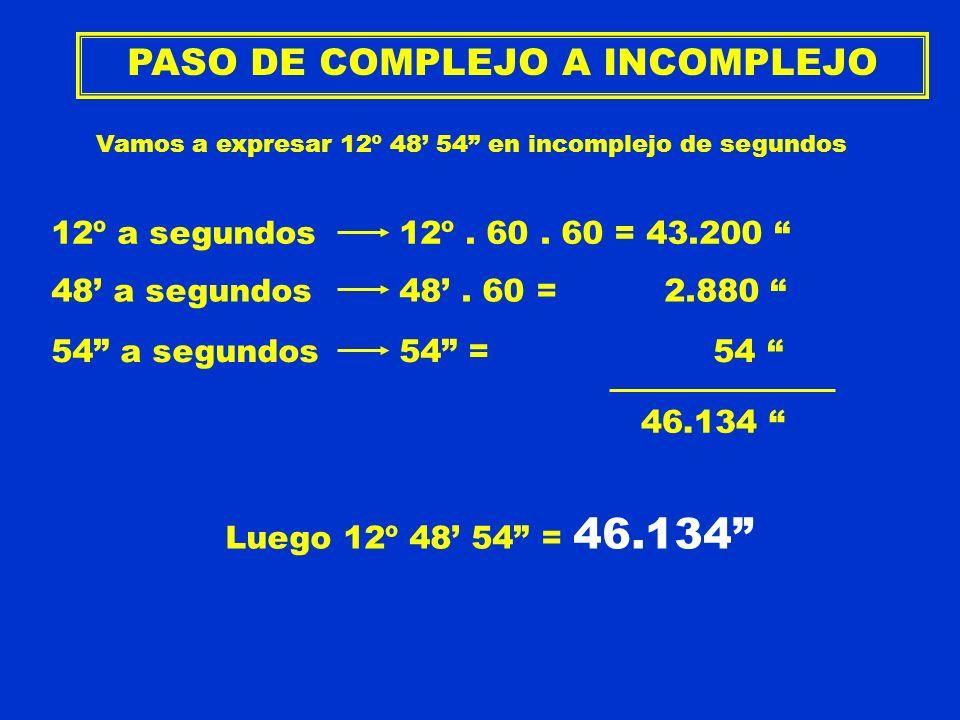 PASO DE COMPLEJO A INCOMPLEJO