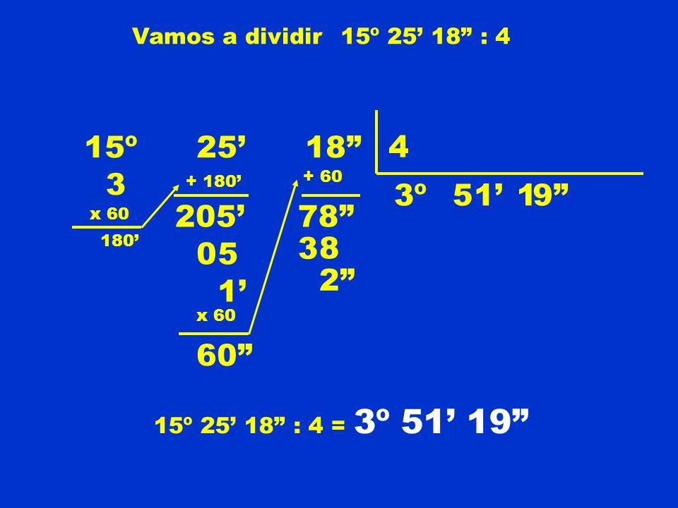 15º 25' 18 4 3 3º 5 1' 1 9 205' 78 3 8 5 2 1' 60 Vamos a dividir