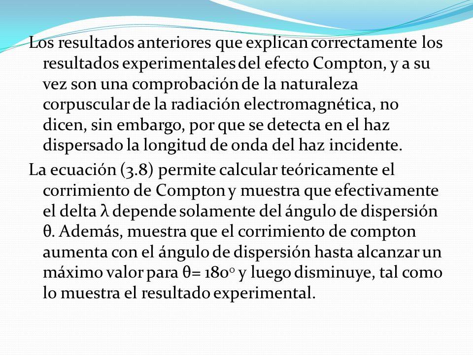 Los resultados anteriores que explican correctamente los resultados experimentales del efecto Compton, y a su vez son una comprobación de la naturaleza corpuscular de la radiación electromagnética, no dicen, sin embargo, por que se detecta en el haz dispersado la longitud de onda del haz incidente.