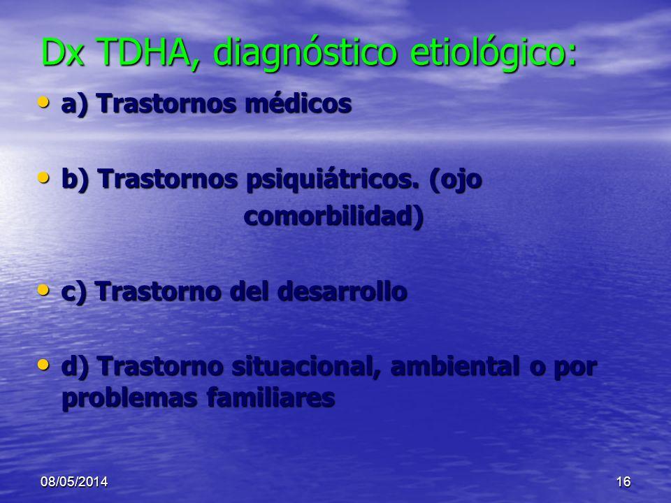 Dx TDHA, diagnóstico etiológico: