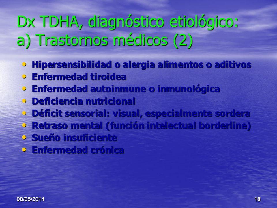 Dx TDHA, diagnóstico etiológico: a) Trastornos médicos (2)