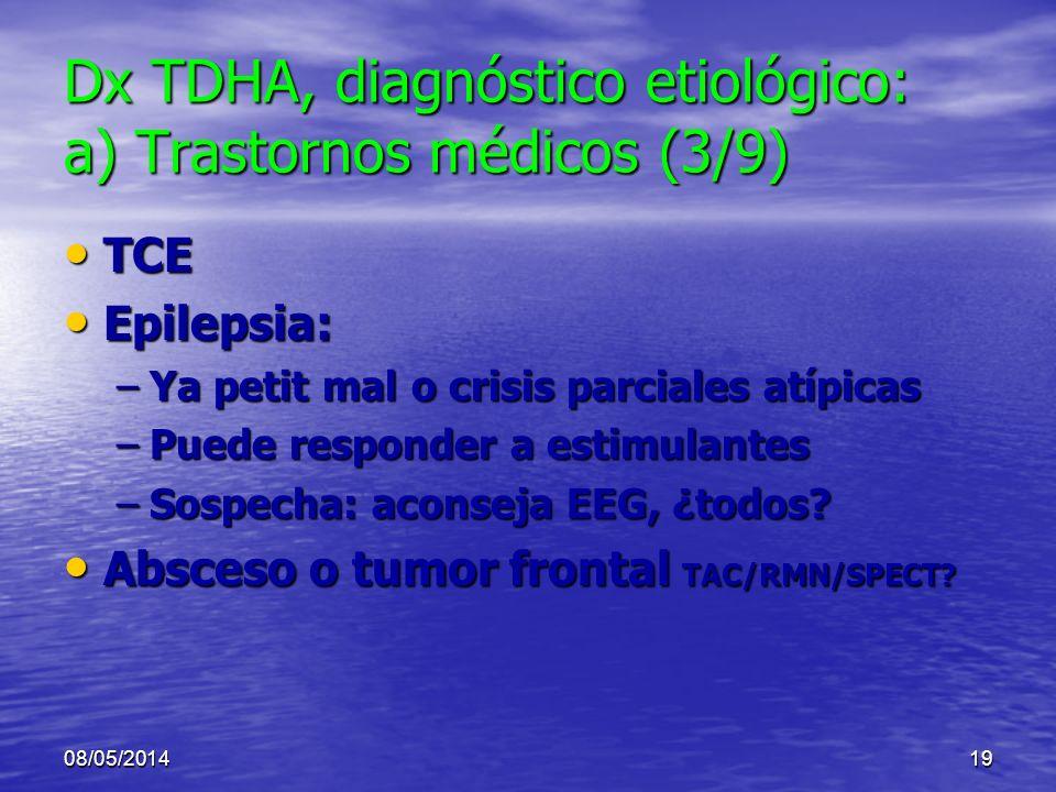 Dx TDHA, diagnóstico etiológico: a) Trastornos médicos (3/9)