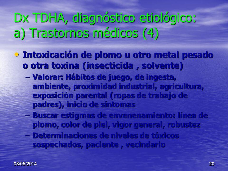 Dx TDHA, diagnóstico etiológico: a) Trastornos médicos (4)