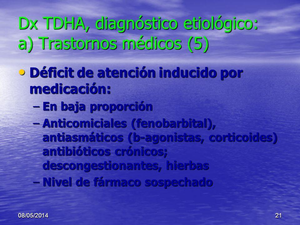 Dx TDHA, diagnóstico etiológico: a) Trastornos médicos (5)