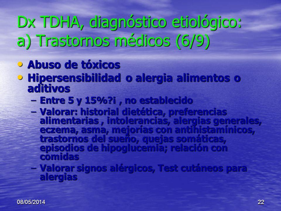 Dx TDHA, diagnóstico etiológico: a) Trastornos médicos (6/9)