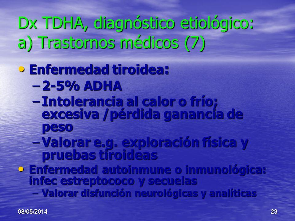 Dx TDHA, diagnóstico etiológico: a) Trastornos médicos (7)