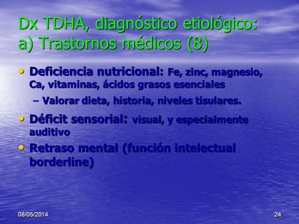 Dx TDHA, diagnóstico etiológico: a) Trastornos médicos (8)