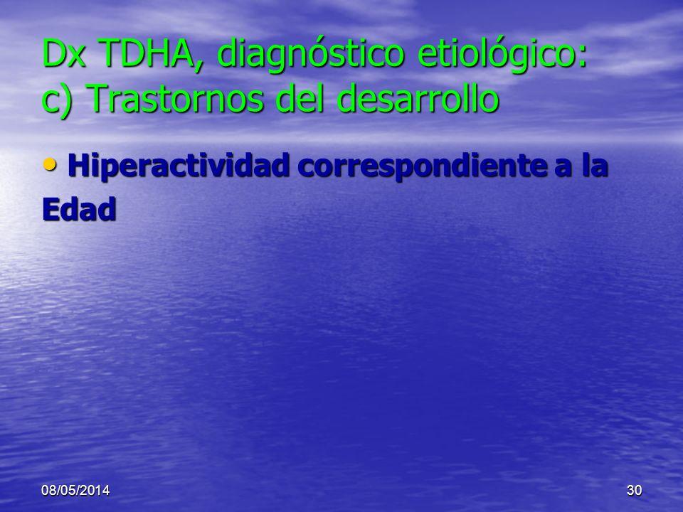 Dx TDHA, diagnóstico etiológico: c) Trastornos del desarrollo