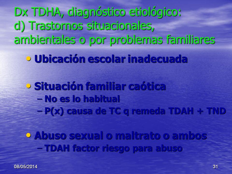 Dx TDHA, diagnóstico etiológico: d) Trastornos situacionales, ambientales o por problemas familiares