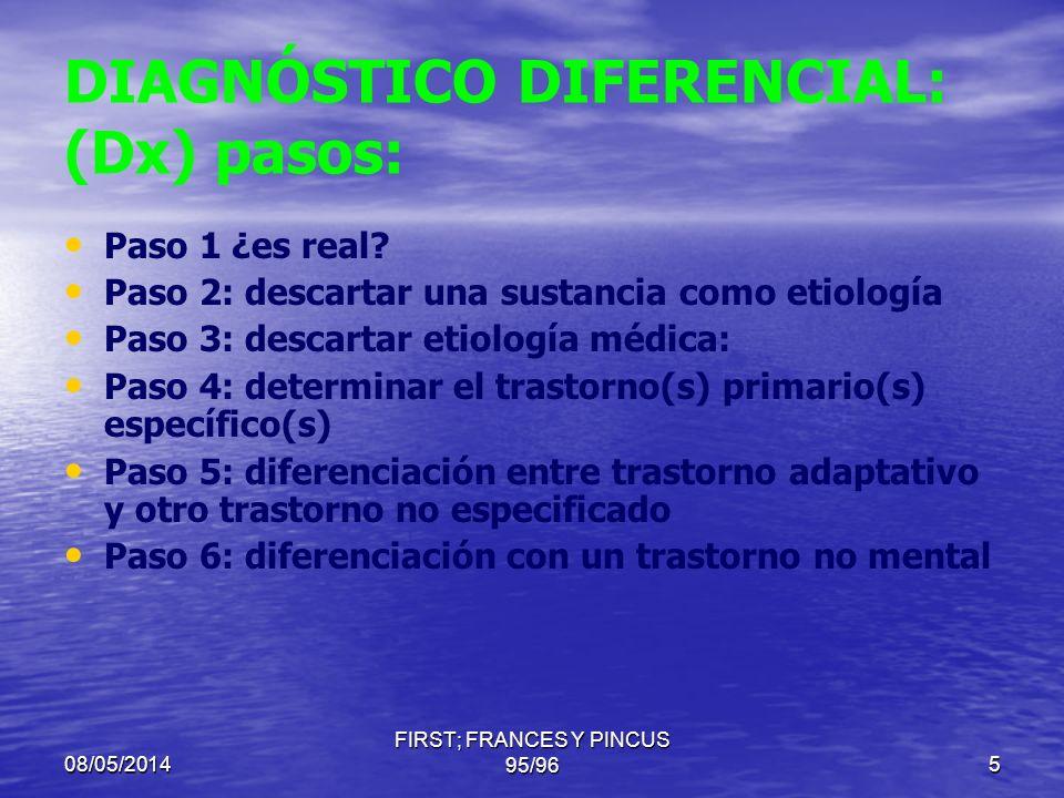 DIAGNÓSTICO DIFERENCIAL: (Dx) pasos: