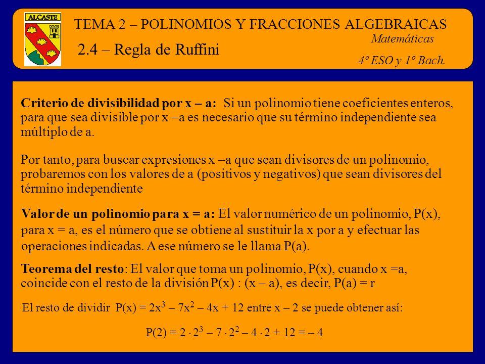 2.4 – Regla de Ruffini TEMA 2 – POLINOMIOS Y FRACCIONES ALGEBRAICAS