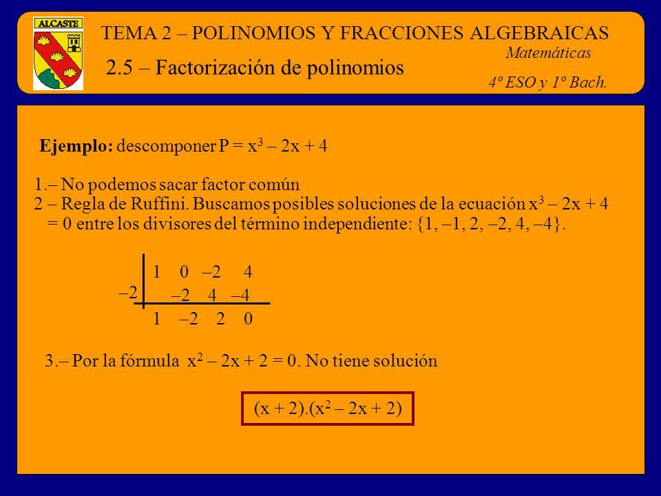 2.5 – Factorización de polinomios