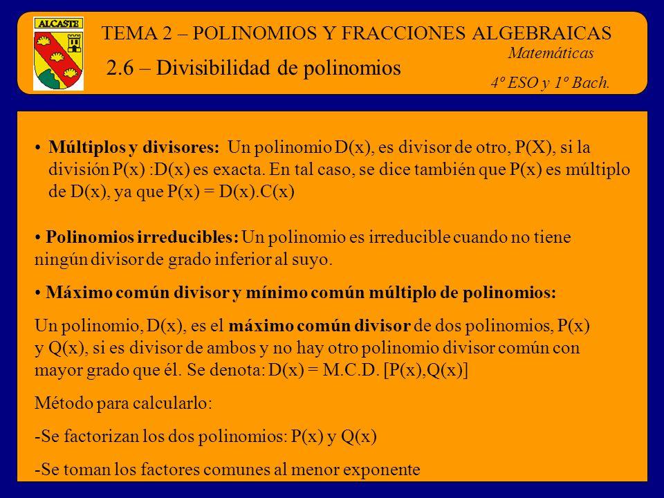2.6 – Divisibilidad de polinomios