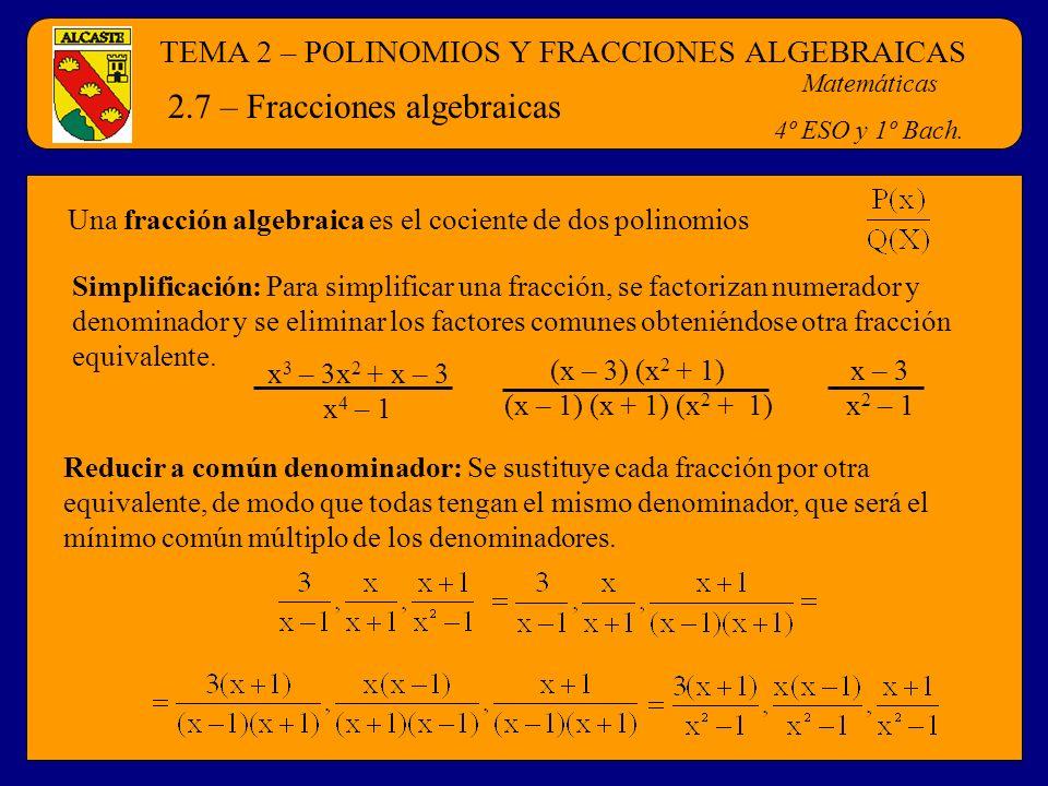 2.7 – Fracciones algebraicas