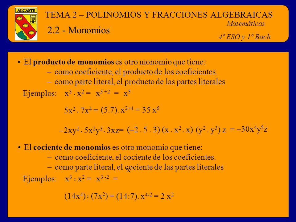 2.2 - Monomios TEMA 2 – POLINOMIOS Y FRACCIONES ALGEBRAICAS