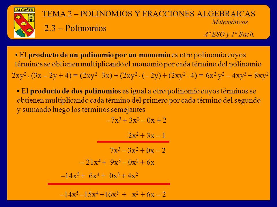 2.3 – Polinomios TEMA 2 – POLINOMIOS Y FRACCIONES ALGEBRAICAS