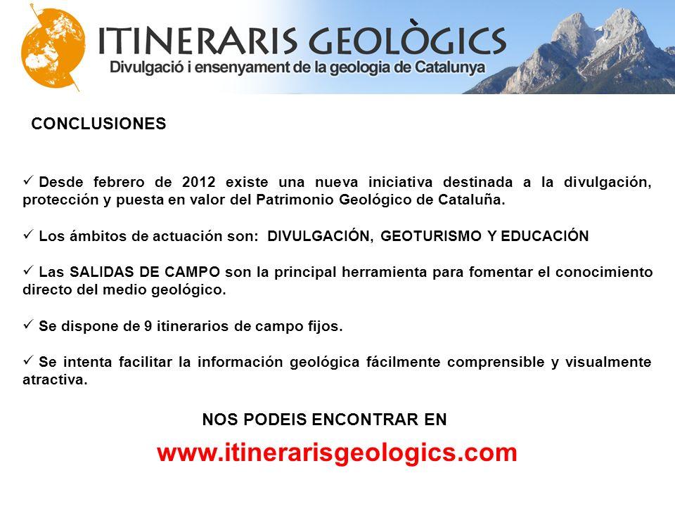 www.itinerarisgeologics.com CONCLUSIONES NOS PODEIS ENCONTRAR EN