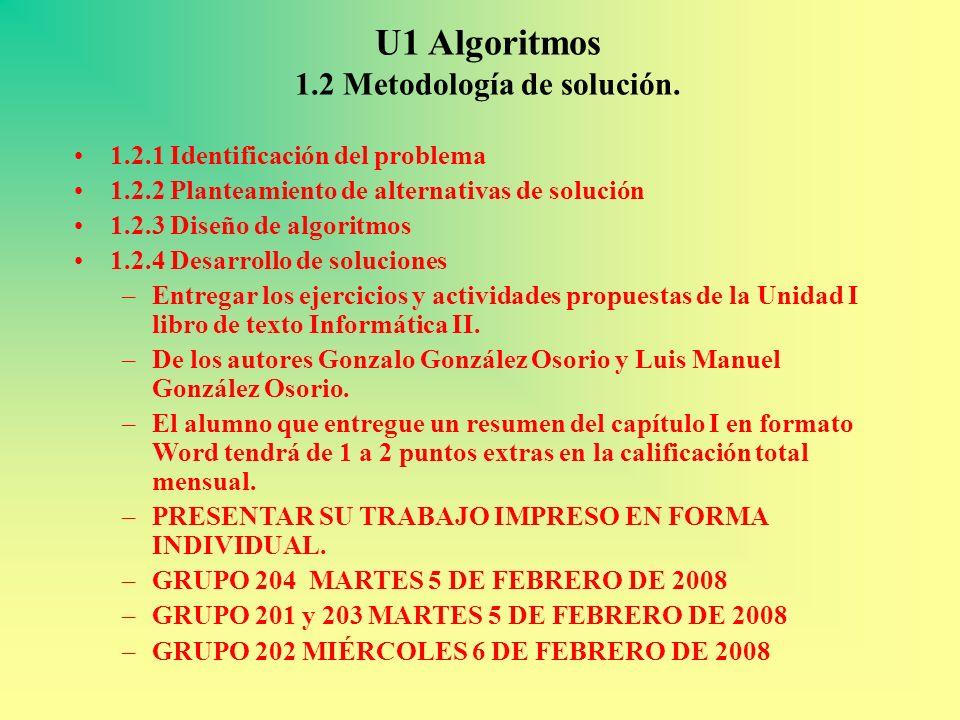 U1 Algoritmos 1.2 Metodología de solución.