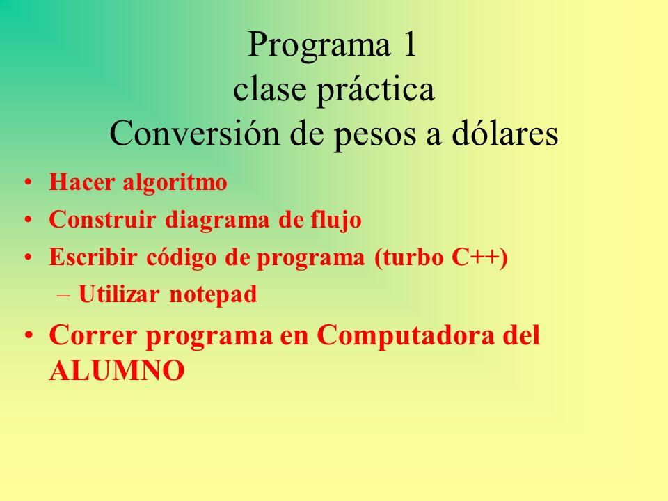 Programa 1 clase práctica Conversión de pesos a dólares