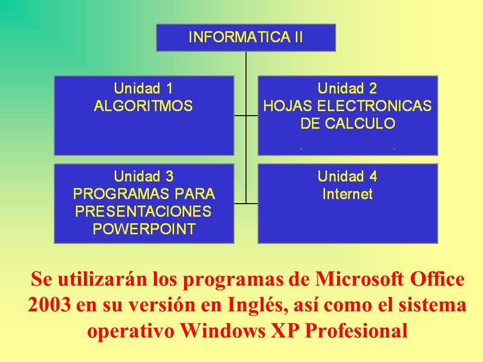 Se utilizarán los programas de Microsoft Office 2003 en su versión en Inglés, así como el sistema operativo Windows XP Profesional