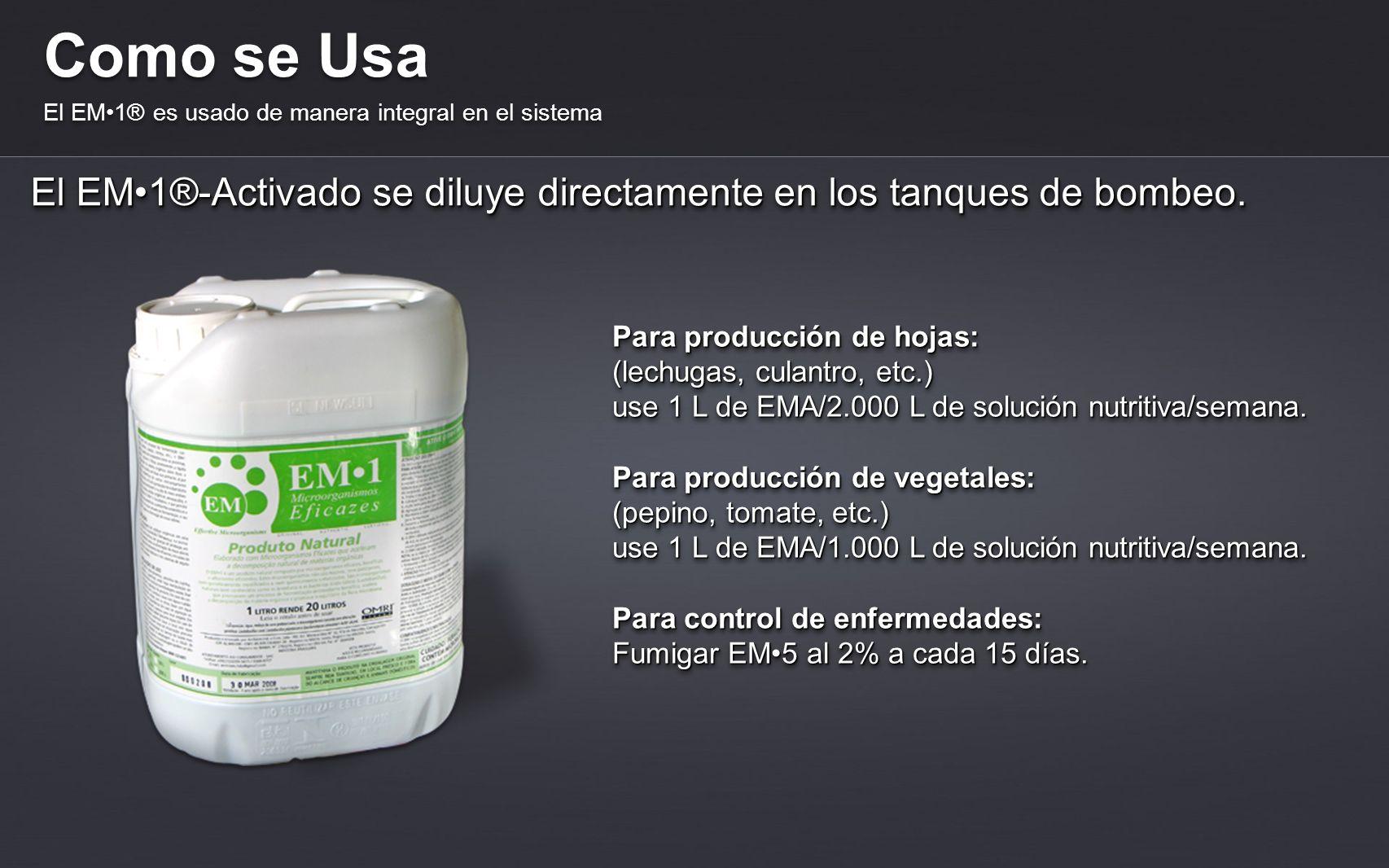 Como se Usa El EM•1® es usado de manera integral en el sistema. El EM•1®-Activado se diluye directamente en los tanques de bombeo.