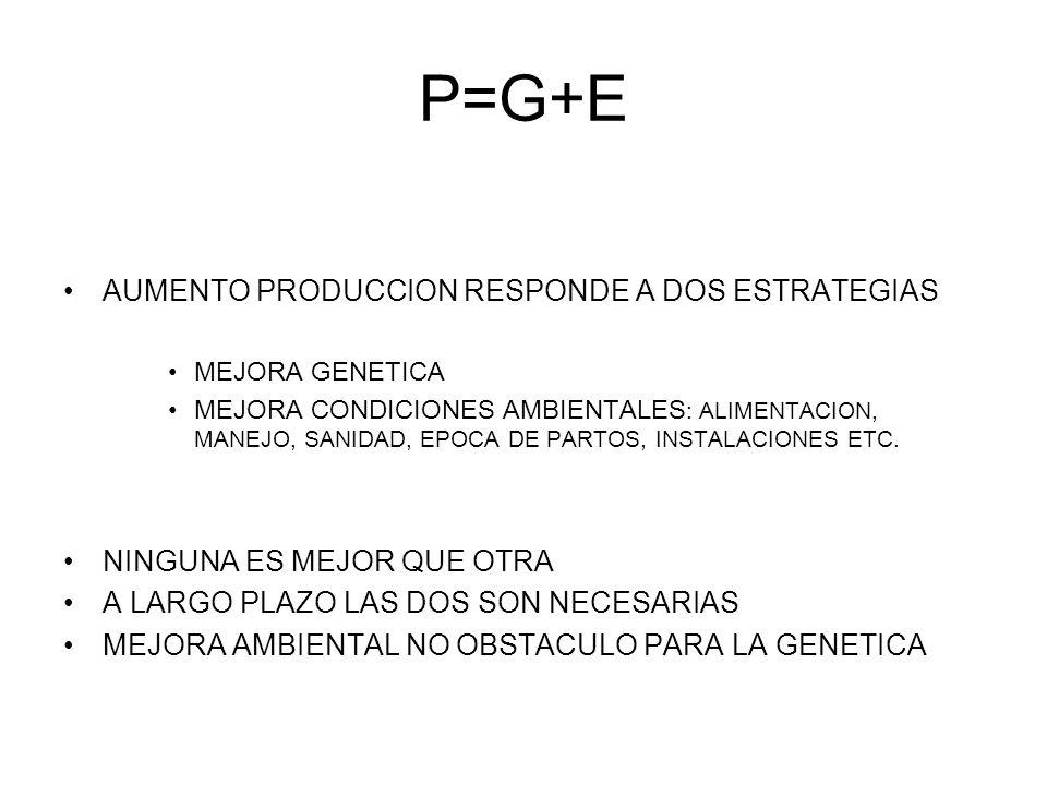 P=G+E AUMENTO PRODUCCION RESPONDE A DOS ESTRATEGIAS