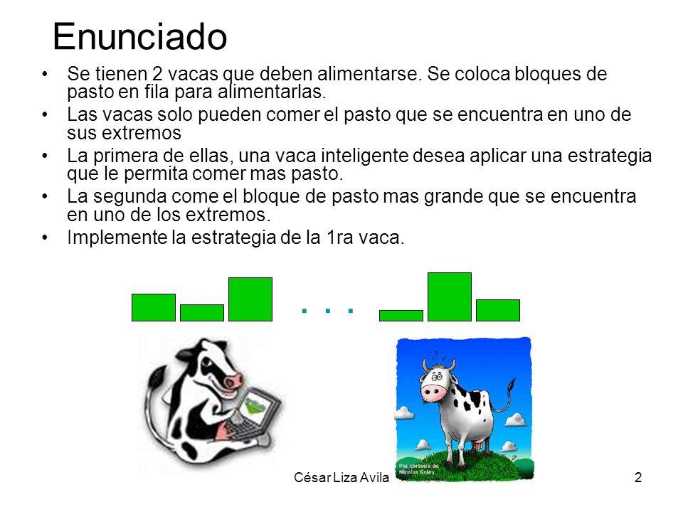 Enunciado Se tienen 2 vacas que deben alimentarse. Se coloca bloques de pasto en fila para alimentarlas.