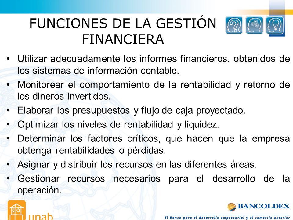 FUNCIONES DE LA GESTIÓN FINANCIERA