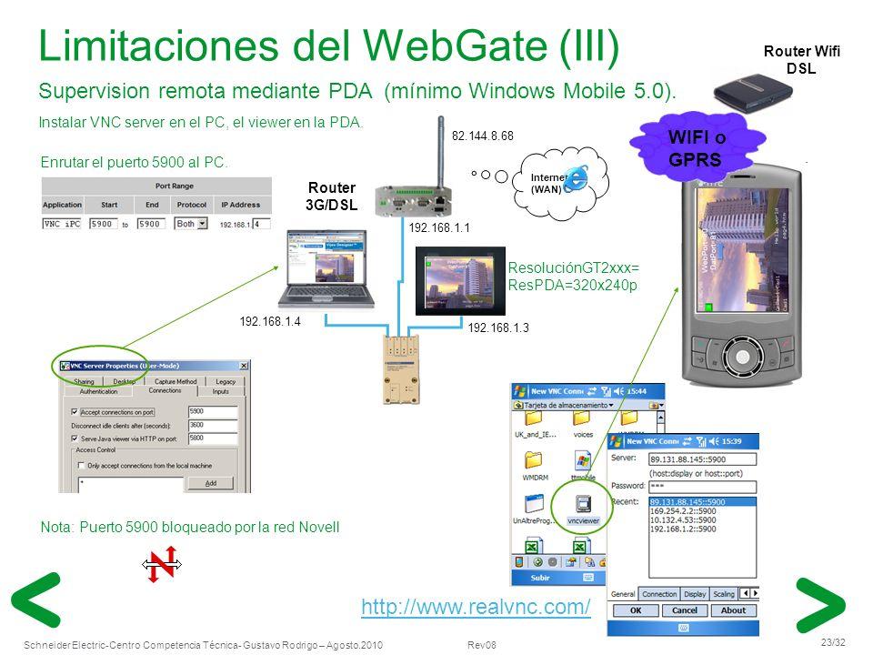 Limitaciones del WebGate (III)