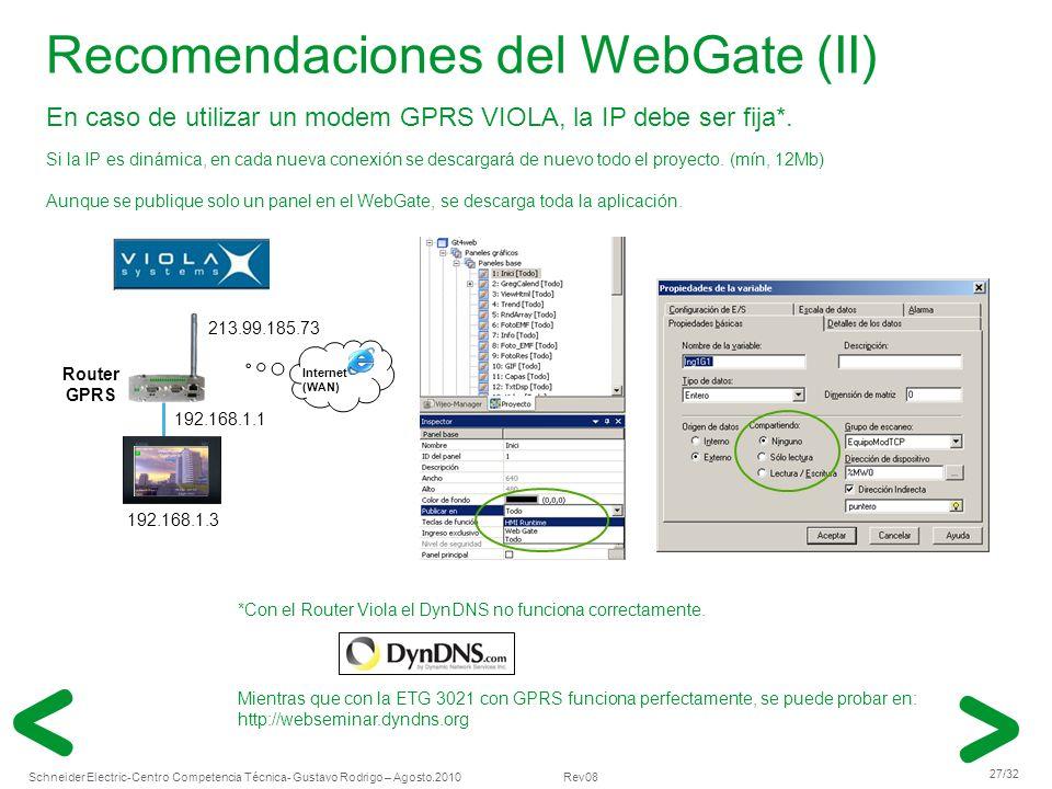 Recomendaciones del WebGate (II)