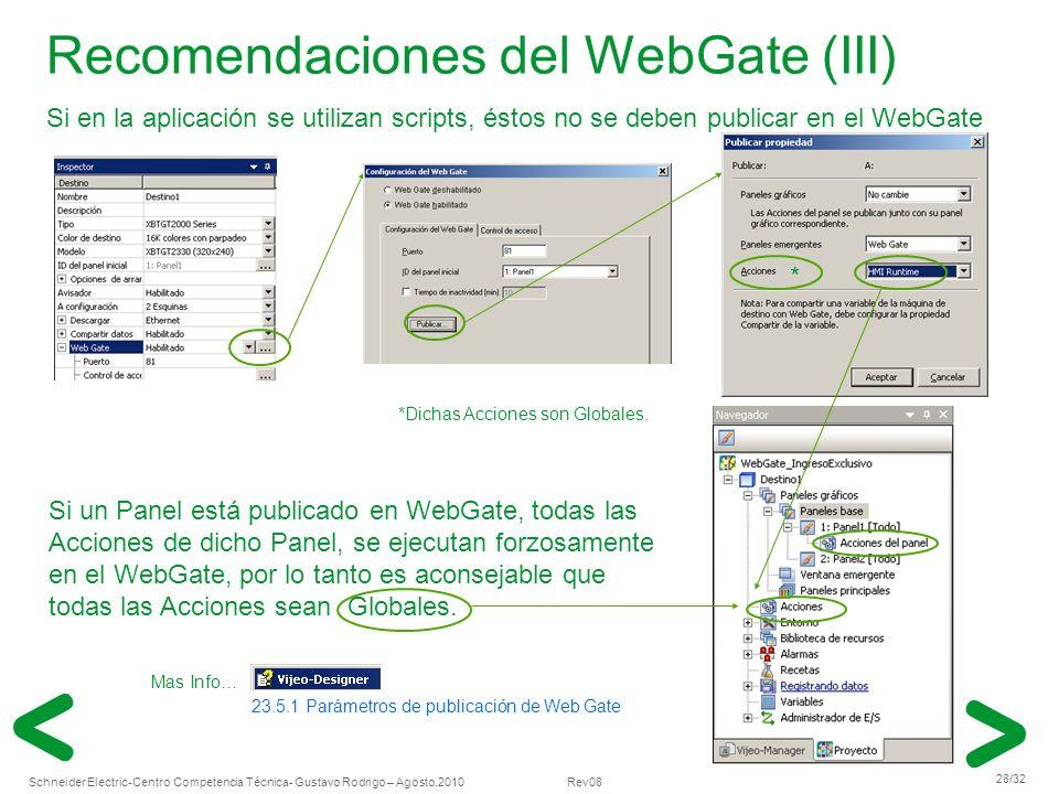 Recomendaciones del WebGate (III)