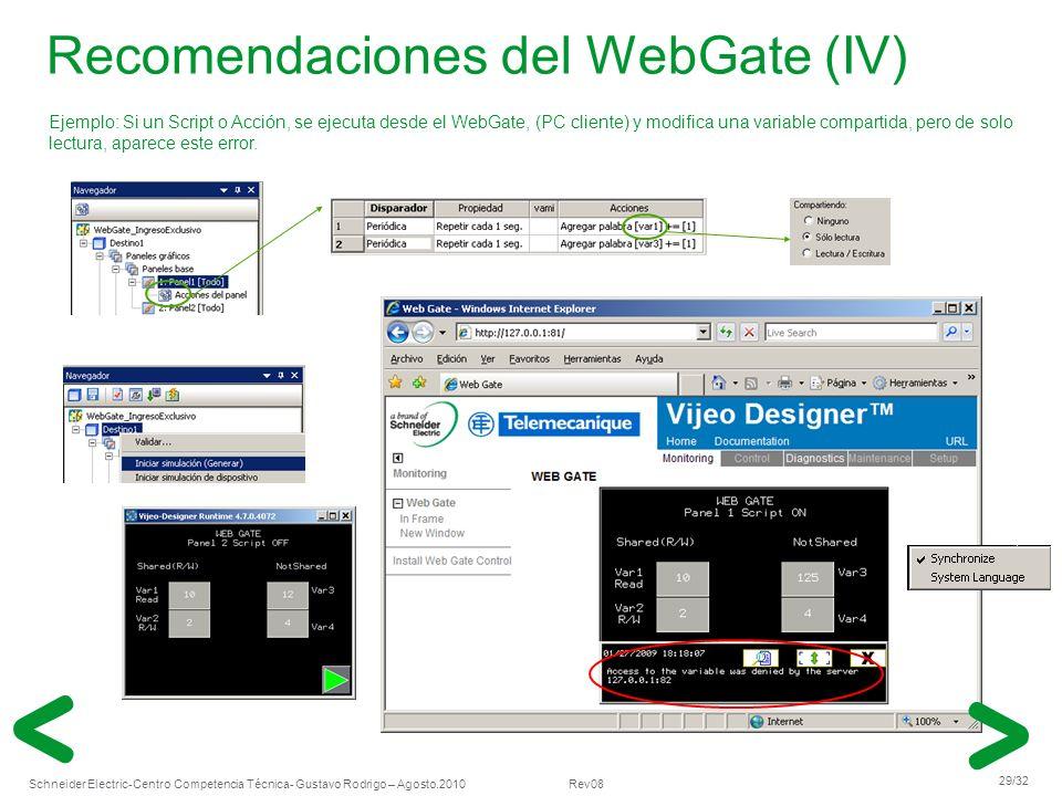 Recomendaciones del WebGate (IV)