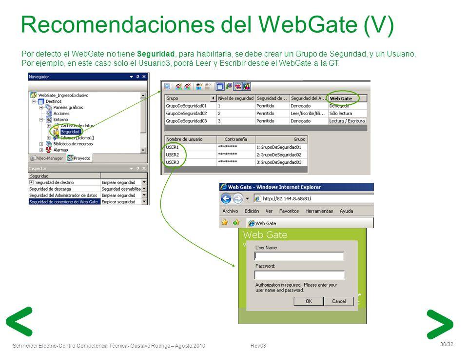 Recomendaciones del WebGate (V)