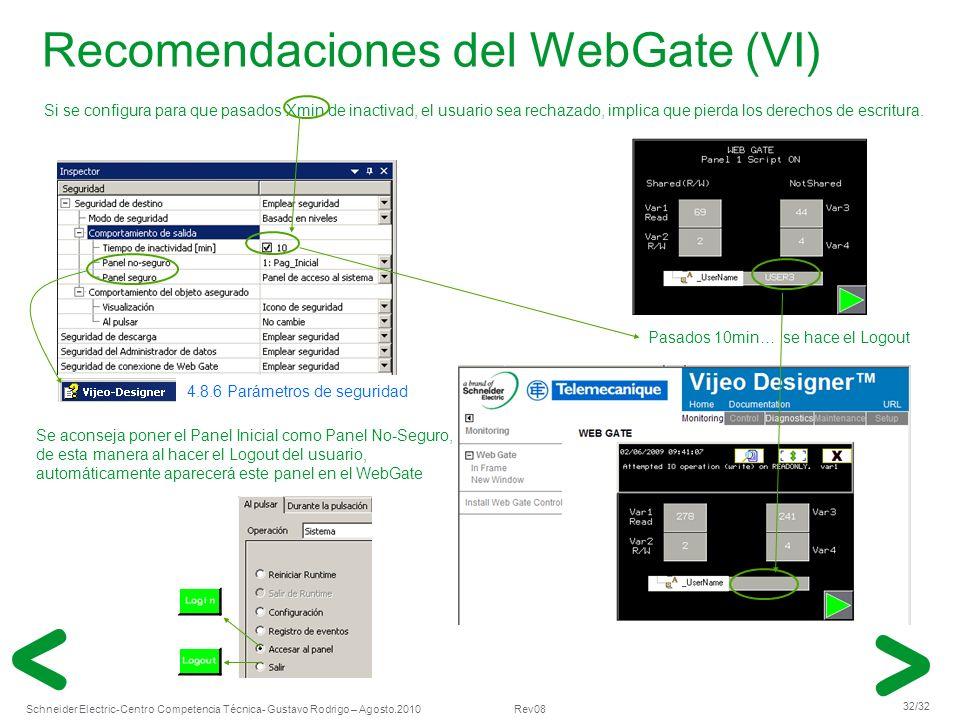 Recomendaciones del WebGate (VI)