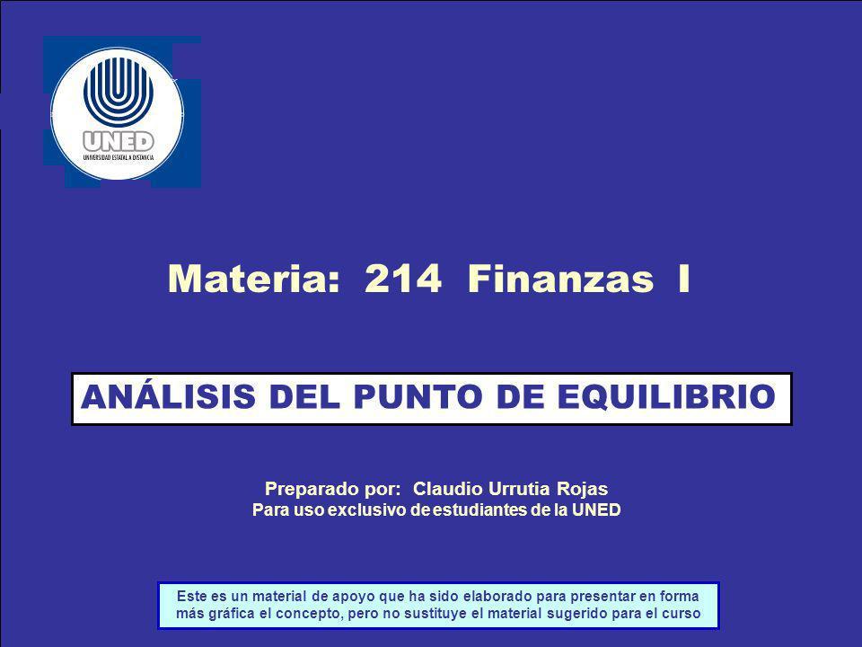 Materia: 214 Finanzas I ANÁLISIS DEL PUNTO DE EQUILIBRIO