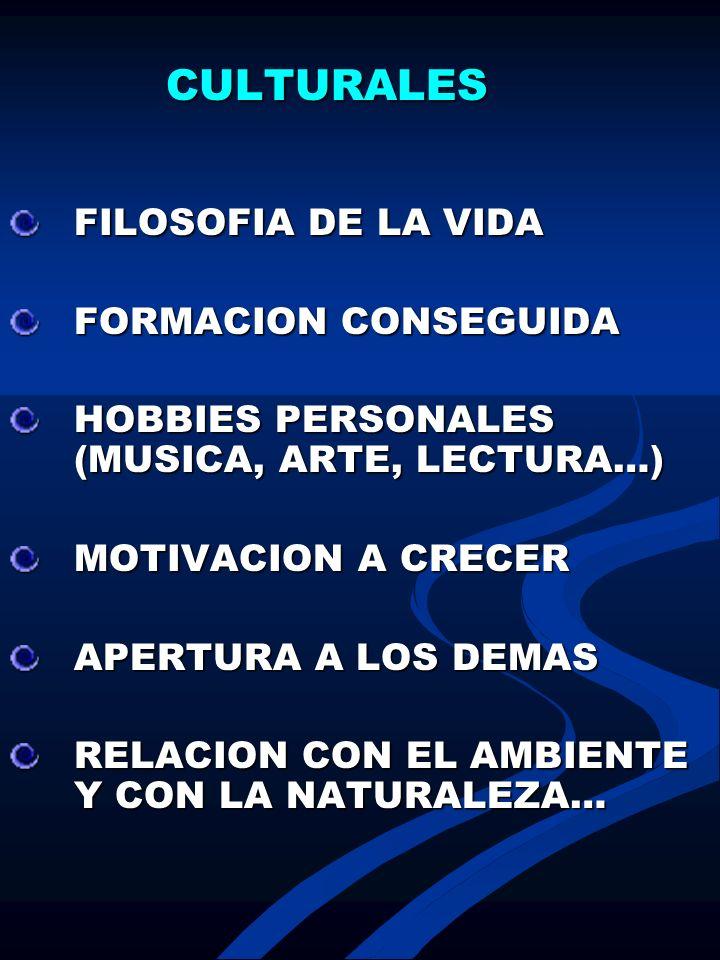 CULTURALES FILOSOFIA DE LA VIDA FORMACION CONSEGUIDA