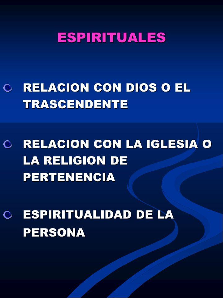 ESPIRITUALES RELACION CON DIOS O EL TRASCENDENTE. RELACION CON LA IGLESIA O LA RELIGION DE PERTENENCIA.