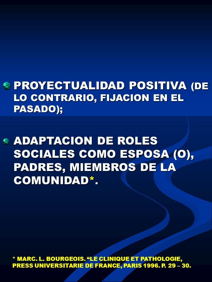 PROYECTUALIDAD POSITIVA (DE LO CONTRARIO, FIJACION EN EL PASADO);