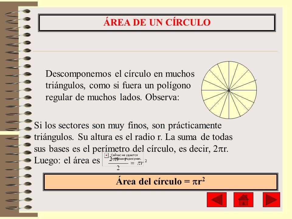 ÁREA DE UN CÍRCULO Descomponemos el círculo en muchos triángulos, como si fuera un polígono regular de muchos lados. Observa: