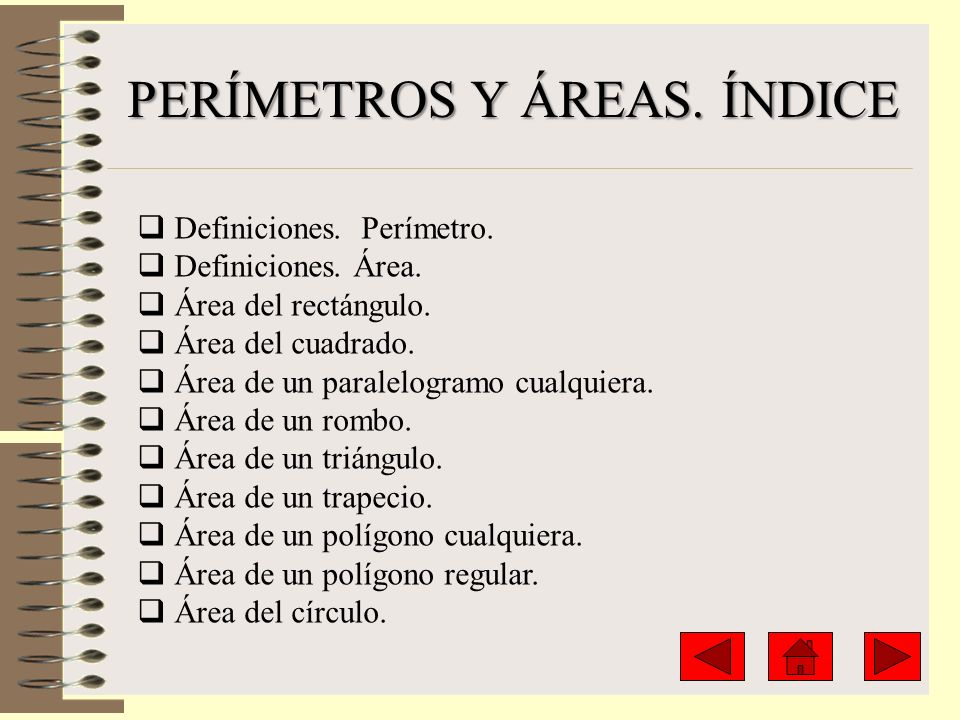 PERÍMETROS Y ÁREAS. ÍNDICE