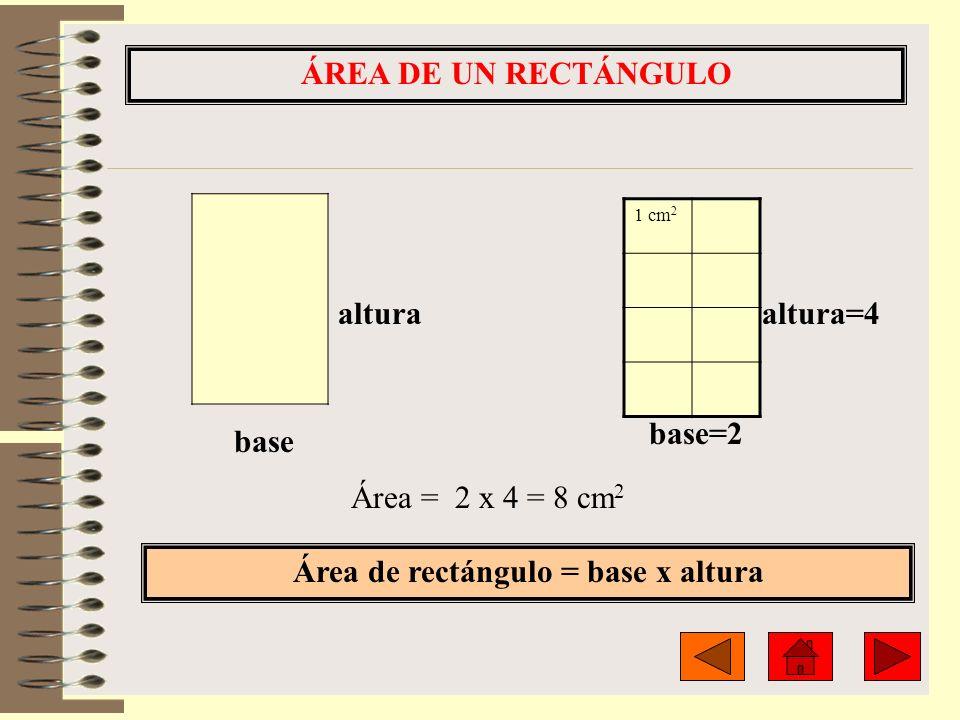 Área de rectángulo = base x altura
