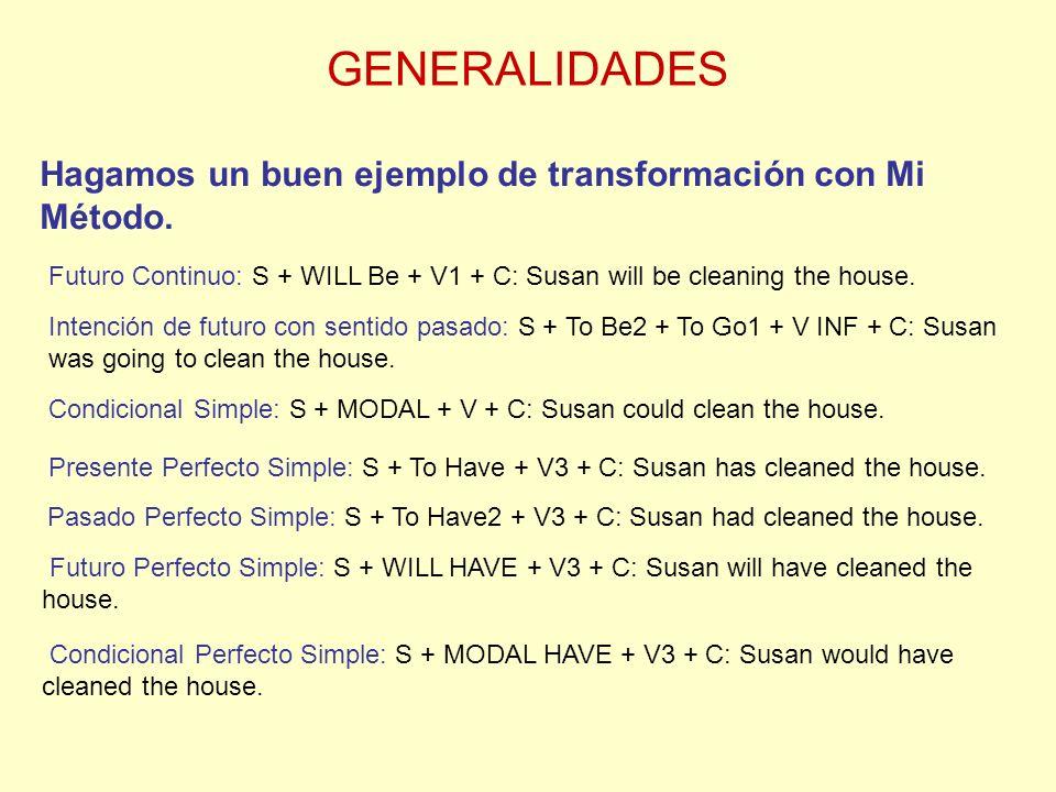 GENERALIDADES Hagamos un buen ejemplo de transformación con Mi Método.