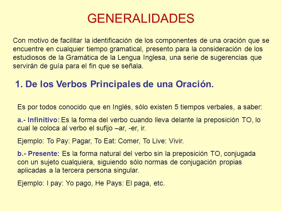 GENERALIDADES 1. De los Verbos Principales de una Oración.