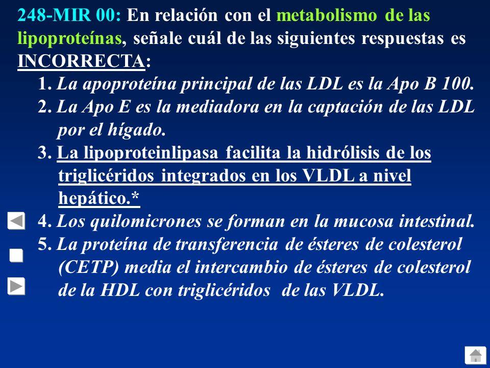 248-MIR 00: En relación con el metabolismo de las lipoproteínas, señale cuál de las siguientes respuestas es INCORRECTA: