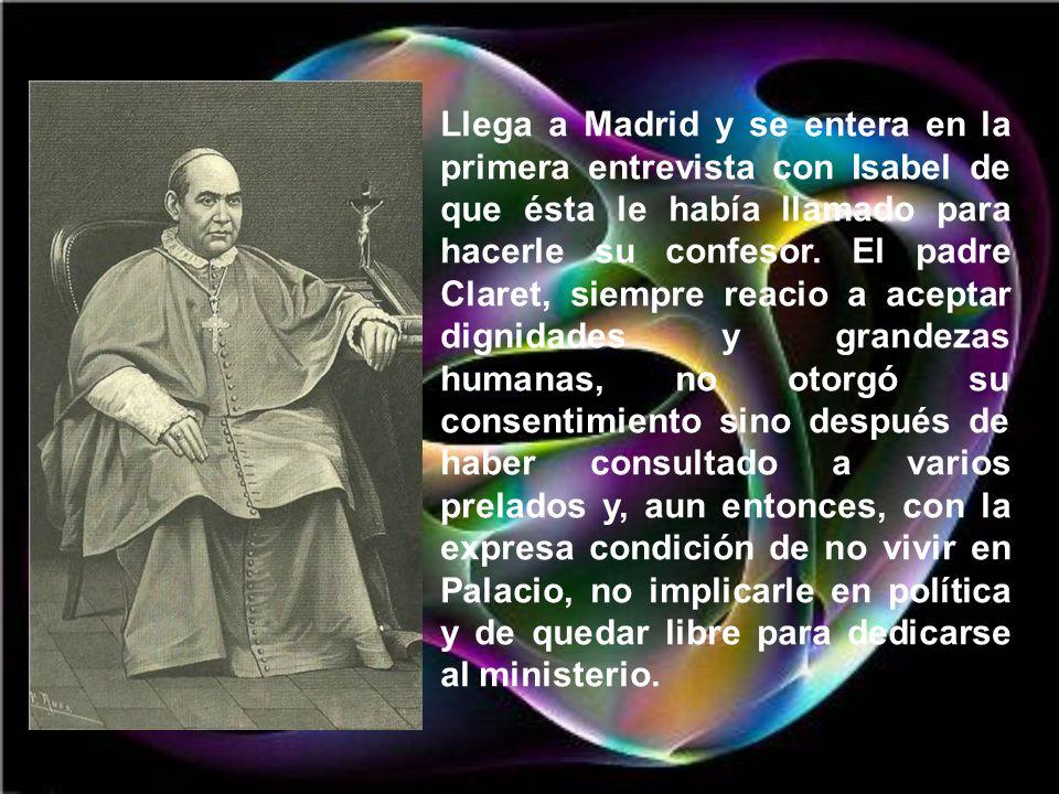 Llega a Madrid y se entera en la primera entrevista con Isabel de que ésta le había llamado para hacerle su confesor.